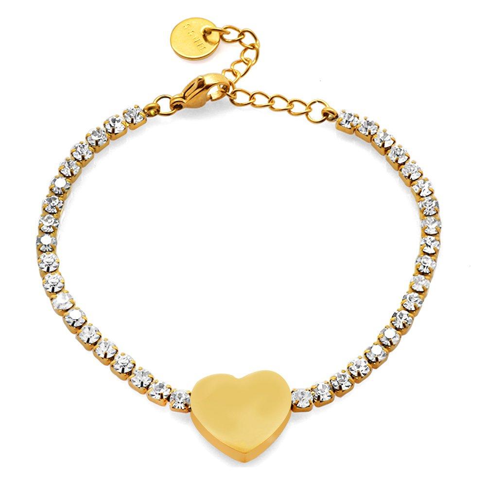 Beyaz Zirkon Taşlı Kalp Tasarım Gold Renk Kişiye Özel İsim Yazılı Çelik Kadın Bileklik