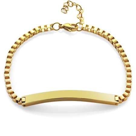 Gold Renk Kişiye Özel İsim Yazılı Çelik Kadın Box Zincir Bileklik - Thumbnail