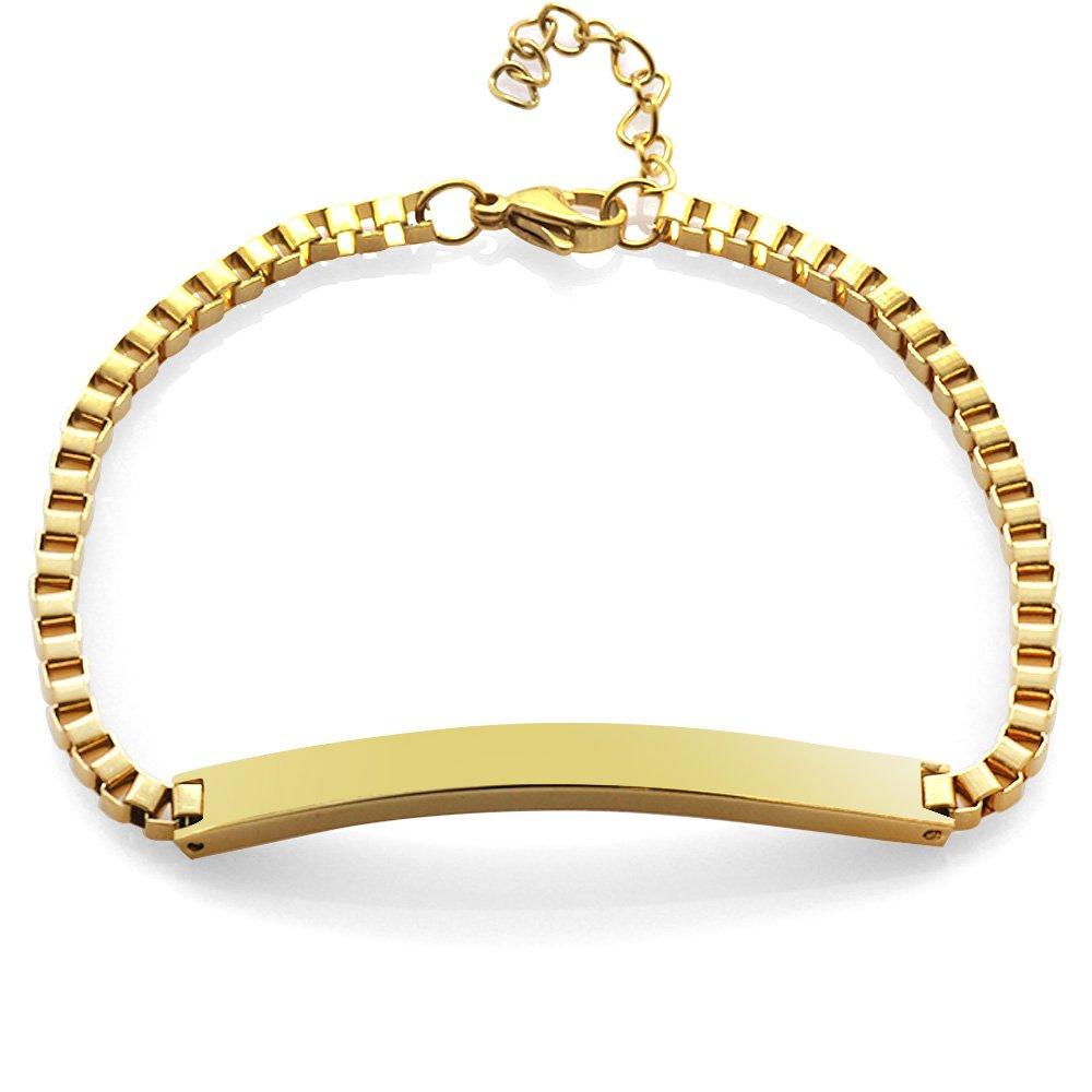 Gold Renk Kişiye Özel İsim Yazılı Çelik Kadın Box Zincir Bileklik
