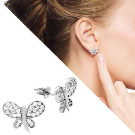 Beyaz Zirkon Taşlı Kelebek Tasarım 925 Ayar Gümüş Bayan Küpe - Thumbnail