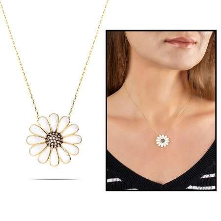 Beyaz Zirkon Taşlı Zarif Tasarım Gold Renk 925 Ayar Gümüş Papatya Kolye - Thumbnail