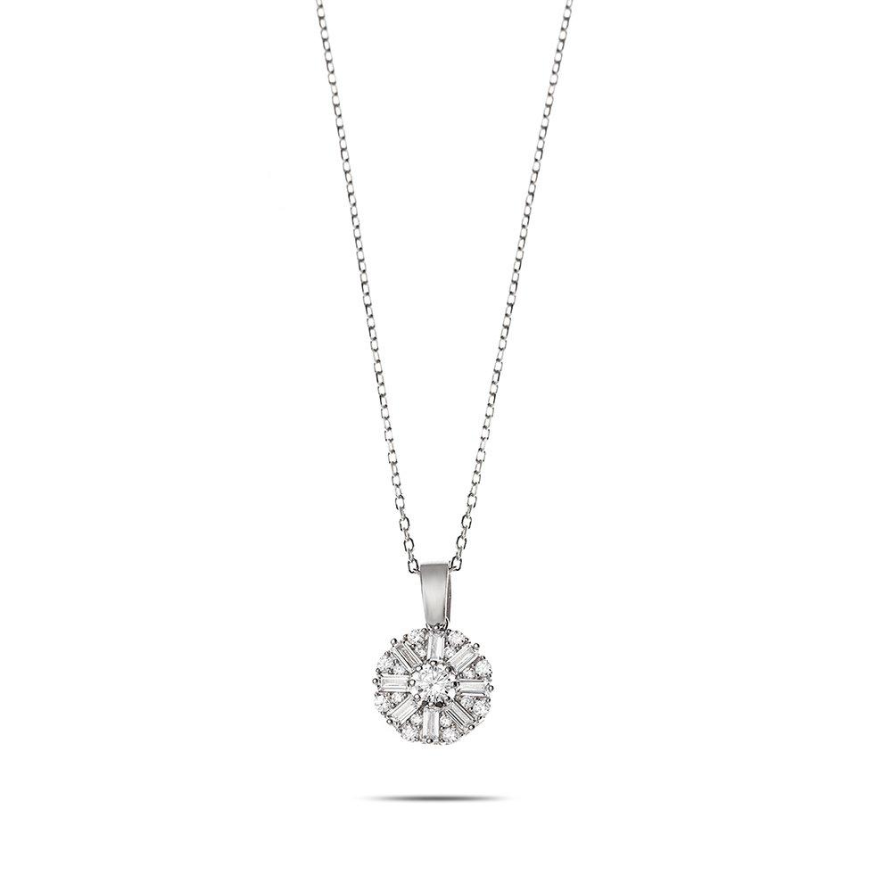 Beyaz Zirkon Taşlı Zarif Tasarım 925 Ayar Gümüş Trend Kolye