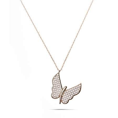 Beyaz Zirkon Taşlı Zarif Tasarım Rose Renk 925 Ayar Gümüş Kelebek Kolye - Thumbnail
