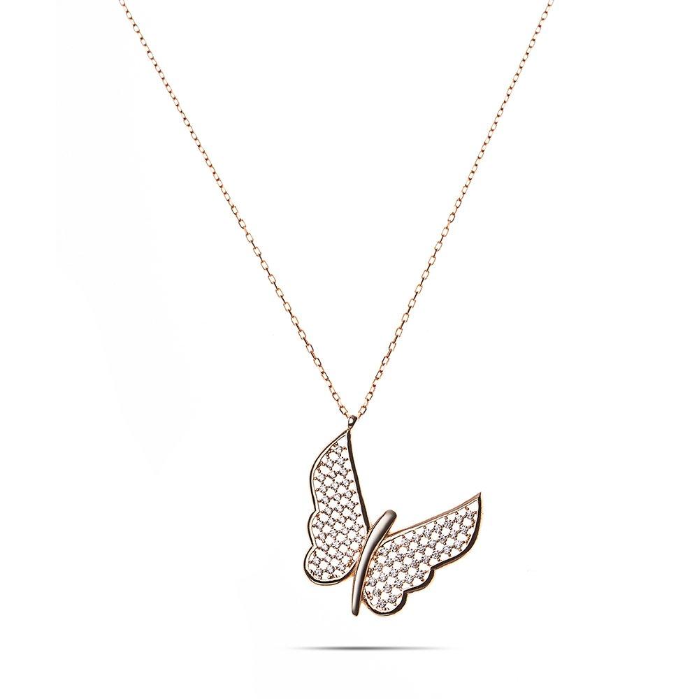 Beyaz Zirkon Taşlı Zarif Tasarım Rose Renk 925 Ayar Gümüş Kelebek Kolye