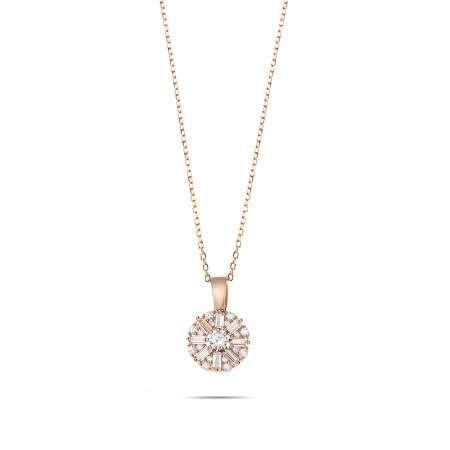 Beyaz Zirkon Taşlı Zarif Tasarım Rose Renk 925 Ayar Gümüş Trend Kolye - Thumbnail