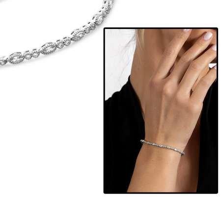 Beyaz Zirkon Taşlı Zarif Tasarım Tam Tur 925 Ayar Gümüş Kadın Bileklik - Thumbnail