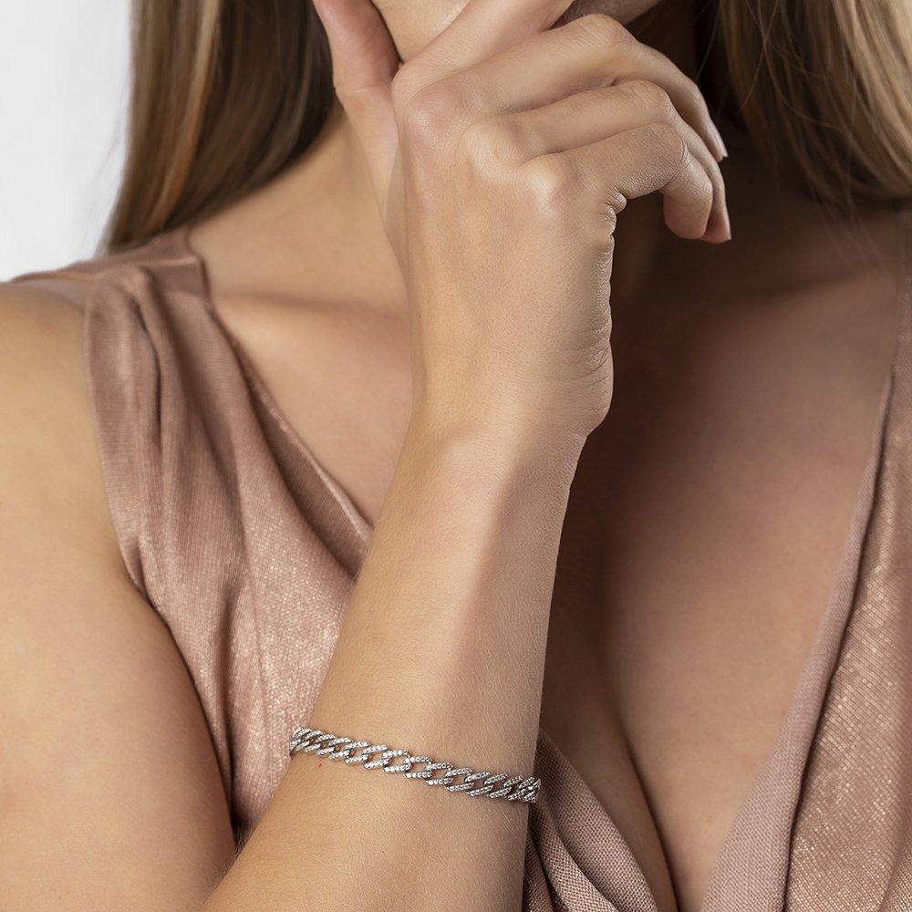 Beyaz Zirkon Taşlı Zincir Tasarım Tam Tur 925 Ayar Gümüş Kadın Bileklik