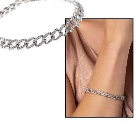 Beyaz Zirkon Taşlı Zincir Tasarım Tam Tur 925 Ayar Gümüş Kadın Bileklik - Thumbnail