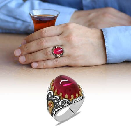Bombeli Tasarım Kırmızı Lal Taşlı 925 Ayar Gümüş Erkek Yüzük - Thumbnail