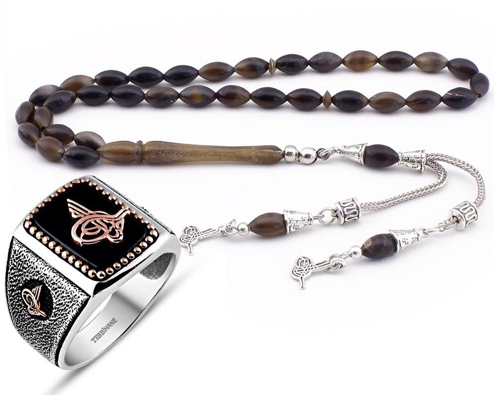 Bufalo Boynuzu Tesbih ve Oniks Taşlı Gümüş Yüzük Kombini