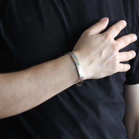 Çapraz Labirent Tasarım 3 Sıra Gümüş-Gold Renk Çelik Erkek Bileklik - Thumbnail