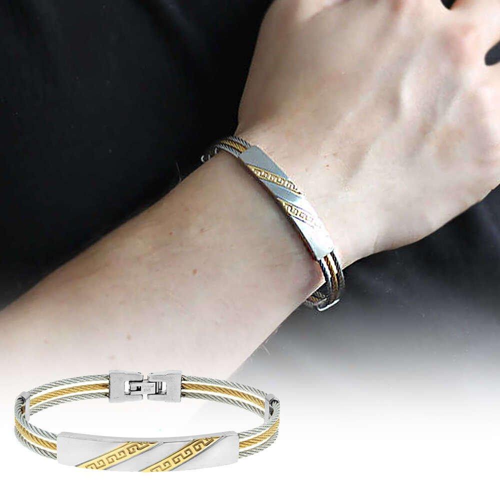 Çapraz Labirent Tasarım 3 Sıra Gümüş-Gold Renk Çelik Erkek Bileklik