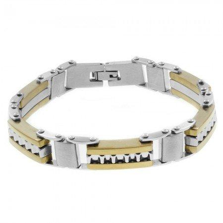 Gümüş-Gold Renk Çelik Erkek Bileklik - Thumbnail