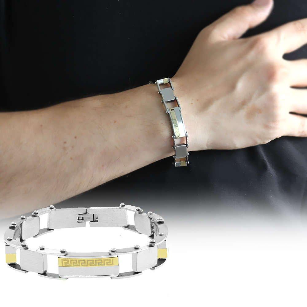 Labirent Tasarım Gümüş-Gold Kombinli Çelik Erkek Bileklik (M-1)