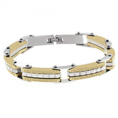Labirent Tasarım Gümüş-Gold Kombinli Çelik Erkek Bileklik (M-2) - Thumbnail