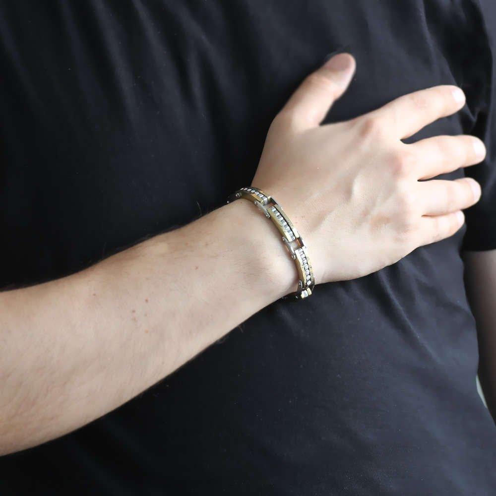Labirent Tasarım Gümüş-Gold Kombinli Çelik Erkek Bileklik (M-2)