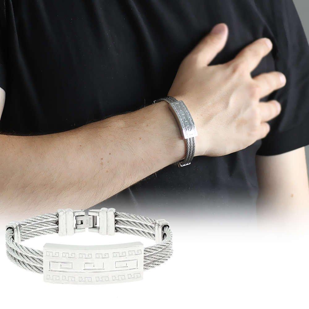 Labirent Tasarım 3 Sıra Gümüş Renk Çelik Erkek Bileklik