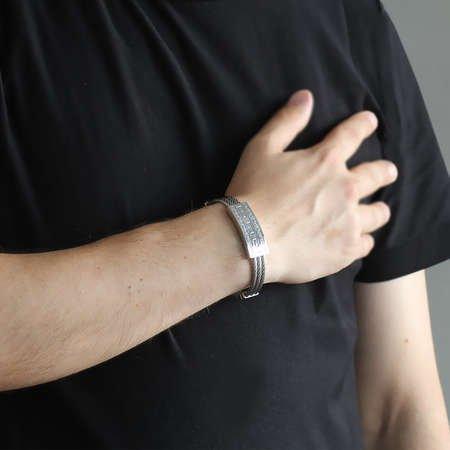 Labirent Tasarım 3 Sıra Gümüş Renk Çelik Erkek Bileklik - Thumbnail