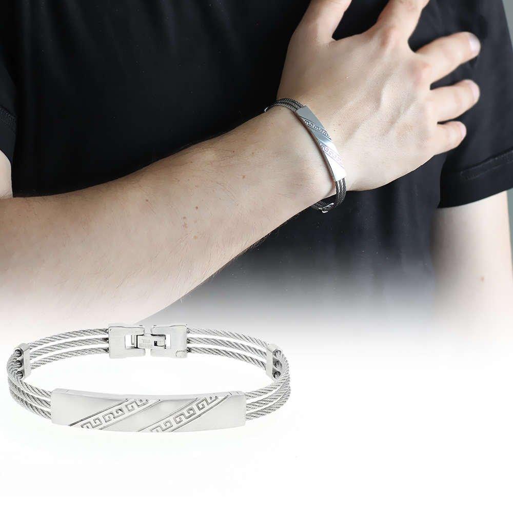 Çapraz Labirent Tasarım 3 Sıra Gümüş Renk Çelik Erkek Bileklik