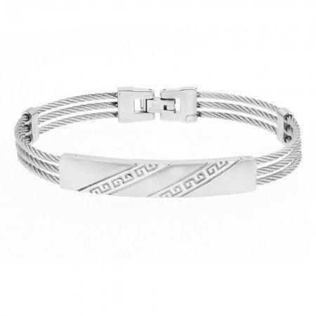 Çapraz Labirent Tasarım 3 Sıra Gümüş Renk Çelik Erkek Bileklik - Thumbnail