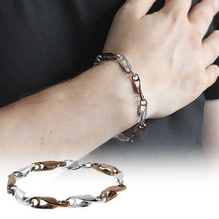 Zincir Tasarım Kahverengi-Gümüş Renk Çelik Erkek Bileklik - Thumbnail
