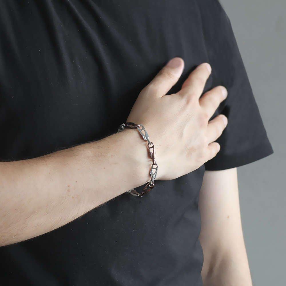 Zincir Tasarım Kahverengi-Gümüş Renk Çelik Erkek Bileklik