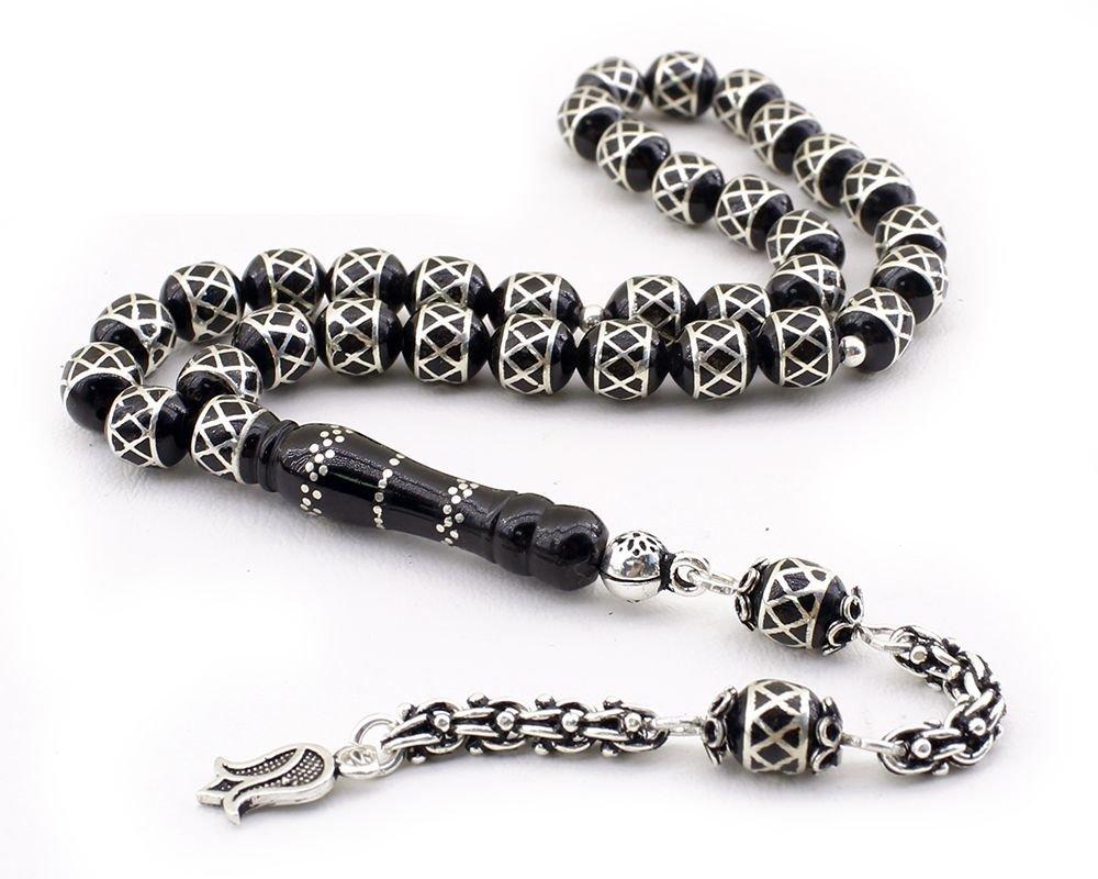 925 Ayar Gümüş Arnavut Püsküllü Baklava Deseni İşlemeli Erzurum Oltu Taşı Tesbih