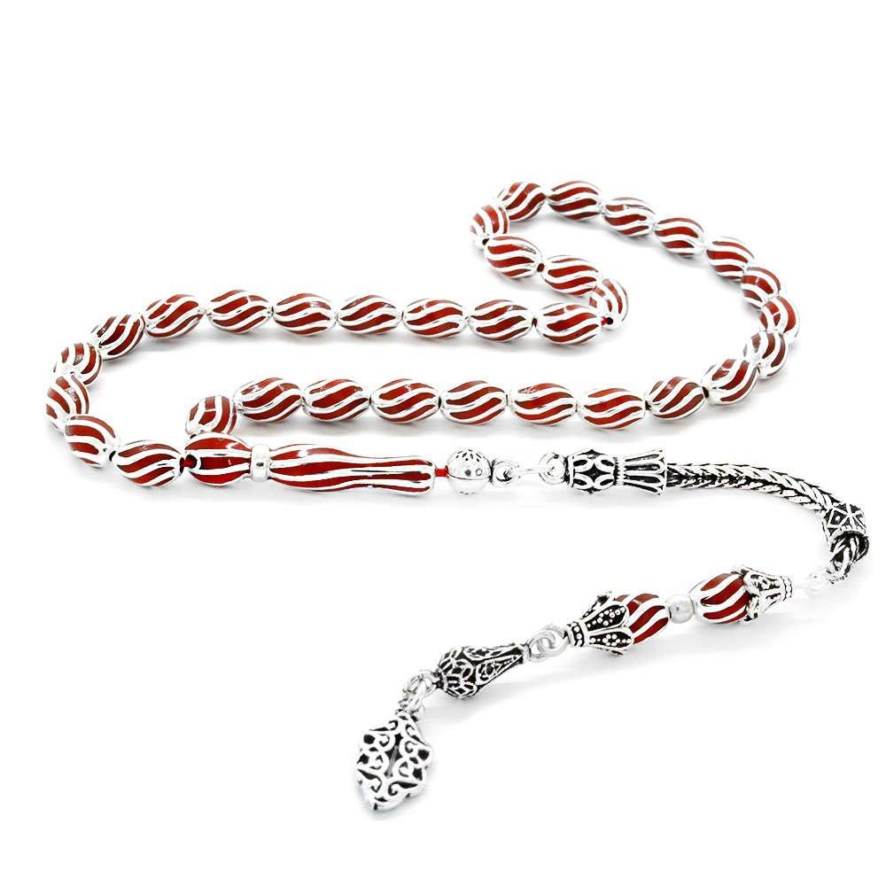 Çeşm-i Bülbül Tasarım Kırmızı Mineli Arpa Kesim 925 Ayar Gümüş Tesbih