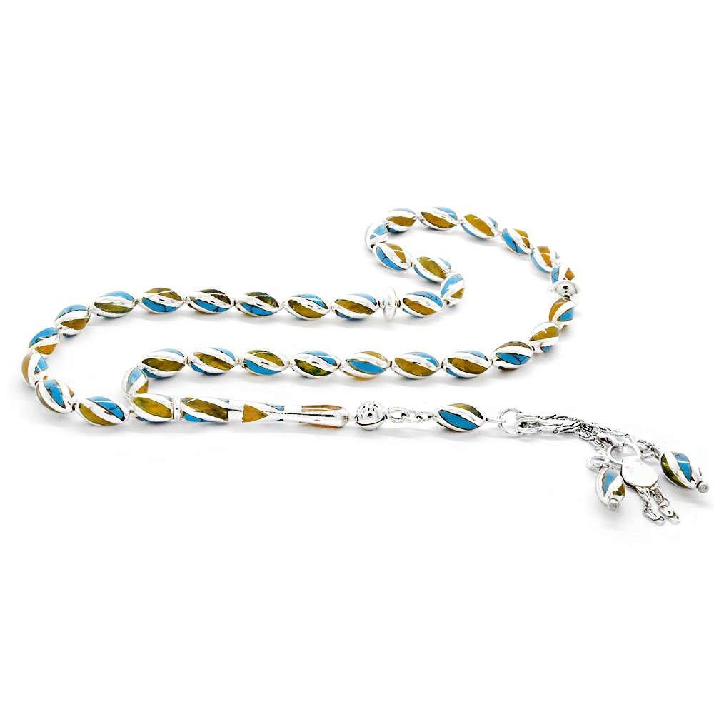 Çeşm-i Bülbül Tasarım Mavi-Sarı Mineli Arpa Kesim Bilek Boy 925 Ayar Gümüş Tesbih