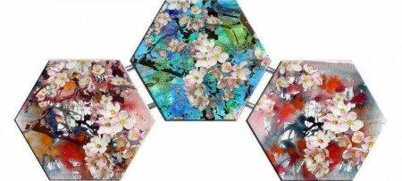 Çiçek Açan Ağaç Temalı Kanvas Tablo - Thumbnail