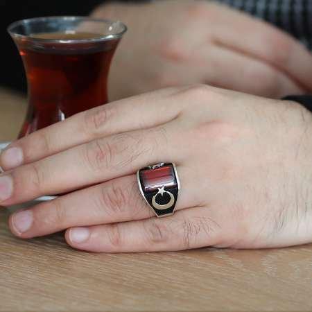 Çift Ayyıldız Motifli Kırmızı Zirkon Taşlı 925 Ayar Gümüş Erkek Yüzük - Thumbnail