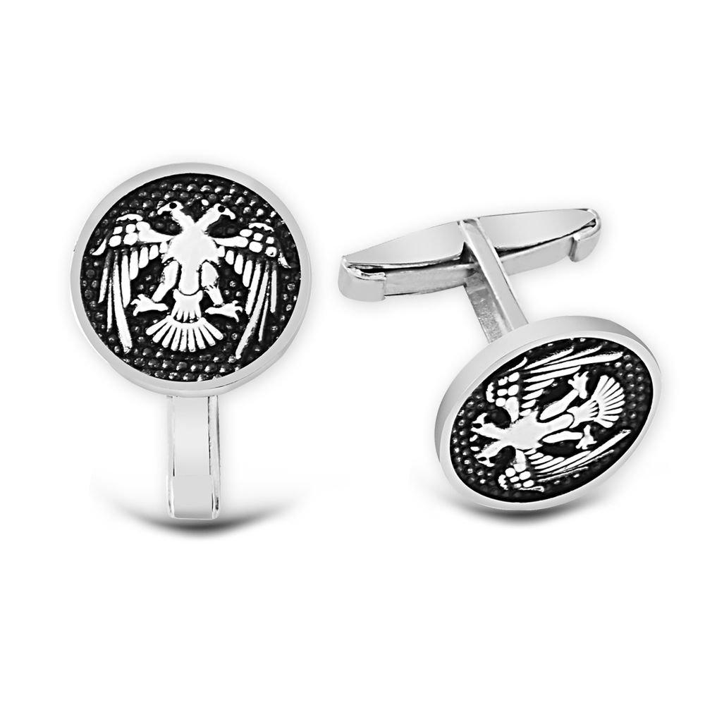 Çift Başlı Selçuklu Kartalı 925 Ayar Gümüş Kol Düğmesi