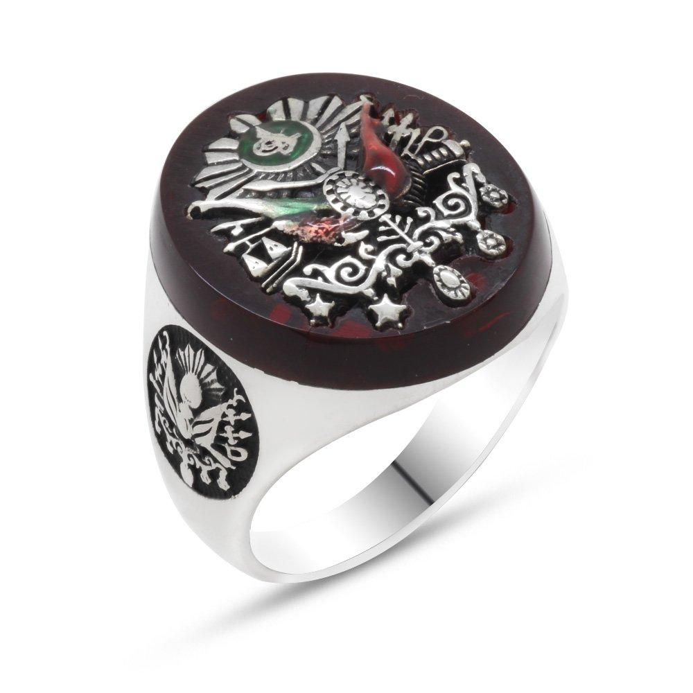 Osmanlı Arma Motifli Kırmızı Mineli 925 Ayar Gümüş Yüzük