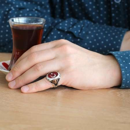 Çift Kartal İşlemeli Ayyıldız Motifli Kırmızı Mineli 925 Ayar Gümüş Yüzük - Thumbnail