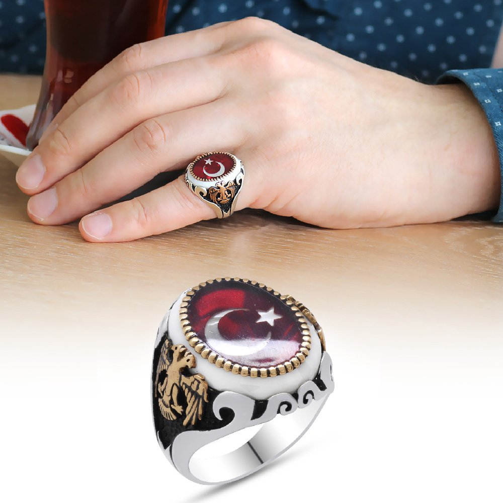 Çift Kartal İşlemeli Ayyıldız Motifli Kırmızı Mineli 925 Ayar Gümüş Yüzük