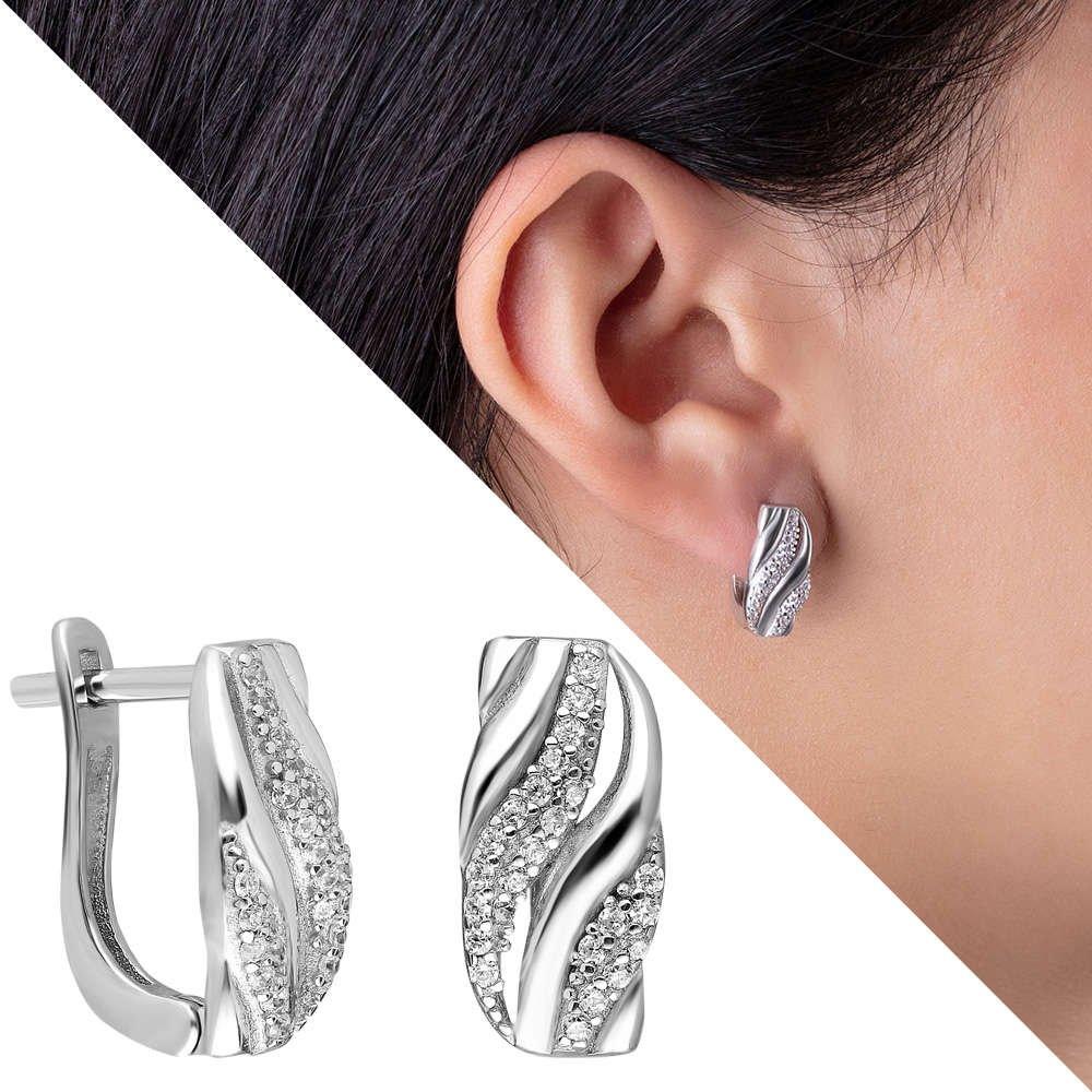 Çift Sıra Zirkon Taşlı Spiral Tasarım 925 Ayar Gümüş Bayan Küpe