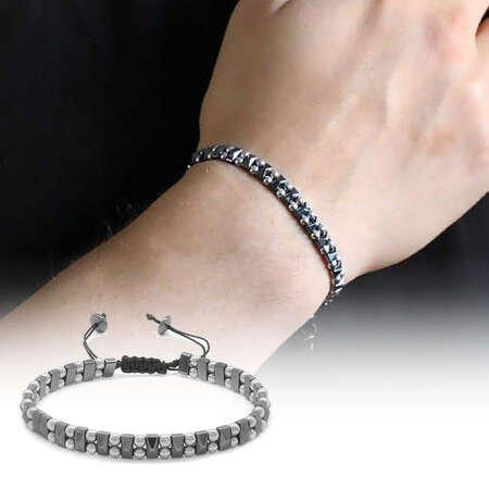 Çift Sıralı Küre Tasarım Makrome Örgülü Silver-Siyah Hematit Doğaltaş Bileklik - Thumbnail