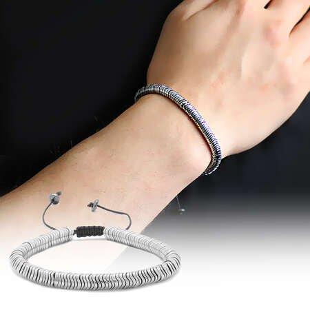 Dalga Tasarım Makrome Örgülü Silver Hematit Doğaltaş Bileklik - Thumbnail