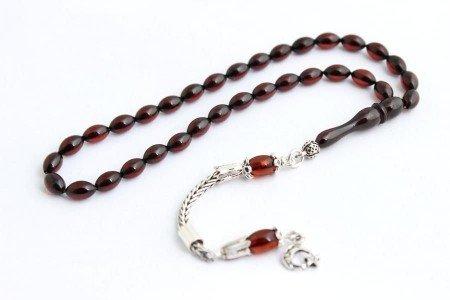 Damla Kehribar Tesbih 925 Ayar Gümüş Püskül (Mini Boy) - Thumbnail