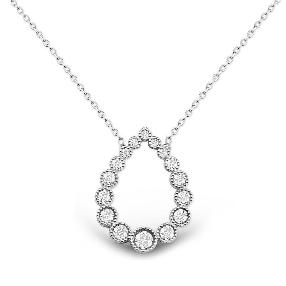Damla Tasarım Beyaz Zirkon Taşlı Gümüş Kolye