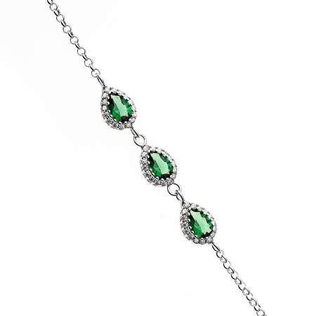 Damla Tasarım Yeşil Zirkon Taşlı 925 Ayar Gümüş Bileklik - Thumbnail