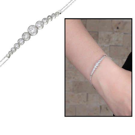 Damla Tasarım Zirkon Taşlı Renk 925 Ayar Gümüş Bayan Bileklik - Thumbnail