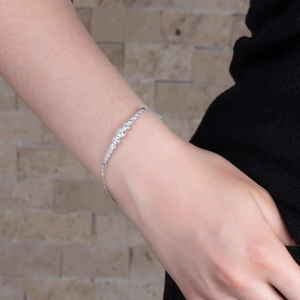 Damla Tasarım Zirkon Taşlı Renk 925 Ayar Gümüş Bayan Bileklik