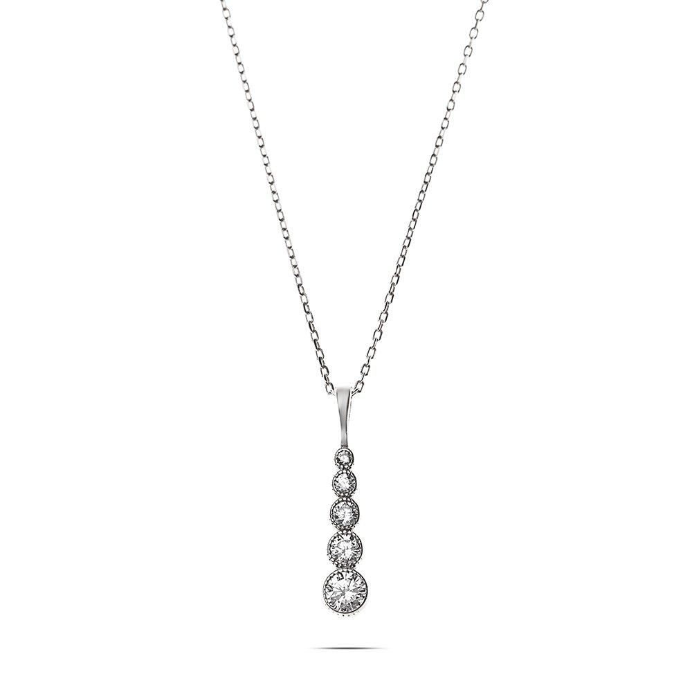 Damla Tasarım Zirkon Taşlı Silver Renk 925 Ayar Gümüş Bayan Kolye