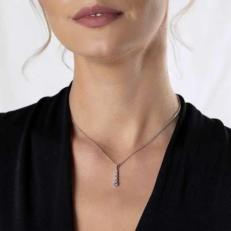 Damla Tasarım Zirkon Taşlı Silver Renk 925 Ayar Gümüş Bayan Kolye - Thumbnail