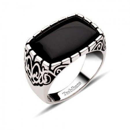 Dekoratif Model Oniks Taşlı Gümüş Yüzük - Thumbnail