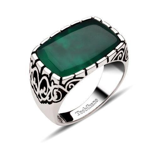 Dekoratif Model Yeşil Akik Taşlı Gümüş Yüzük