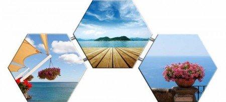 Deniz Manzaralı ve Çiçek Temalı Kanvas Tablo - Thumbnail