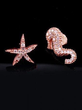 Denizatı Deniz Yıldızı Rose Küpe - Thumbnail