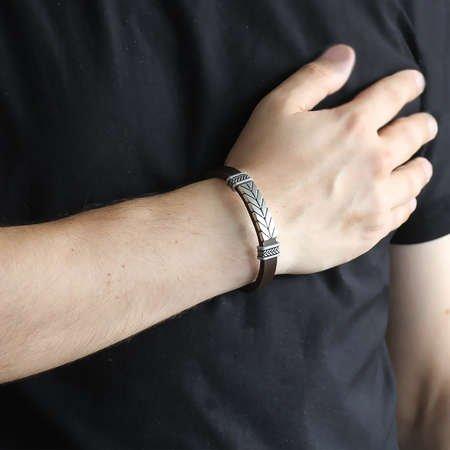 Ok Tasarım Kahverengi Kararmaz Metal-Deri Kombinli Erkek Bileklik - Thumbnail